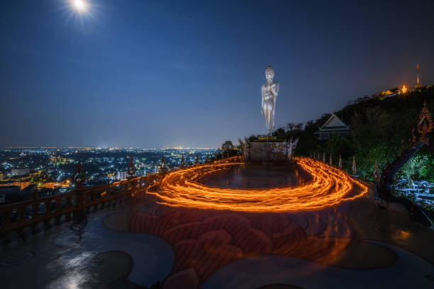 meditation place of cycle candle lit in makha bucha day - makha bucha stock photos and pictures