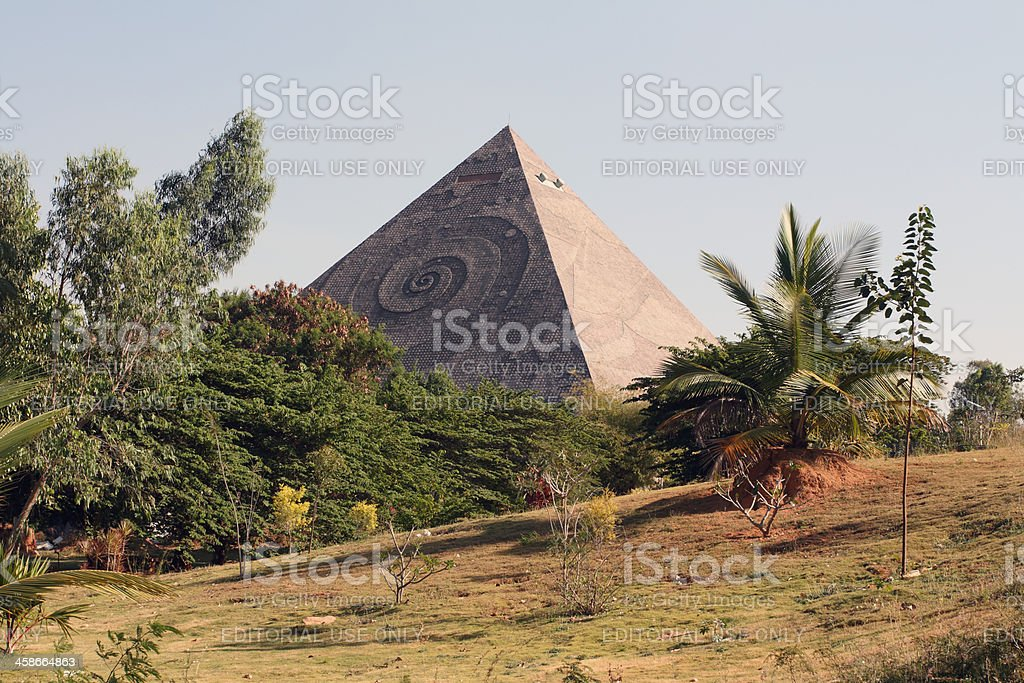 Meditation pyramid, India stock photo