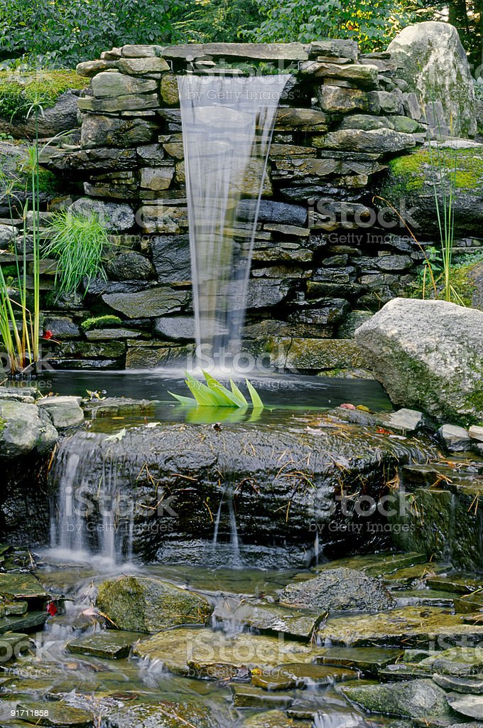 Meditation Rock Garden Waterfall Royalty Free Stock Photo