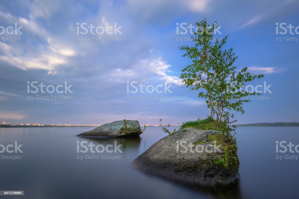 meditative landscape with textured foreground, long exposure stock photo
