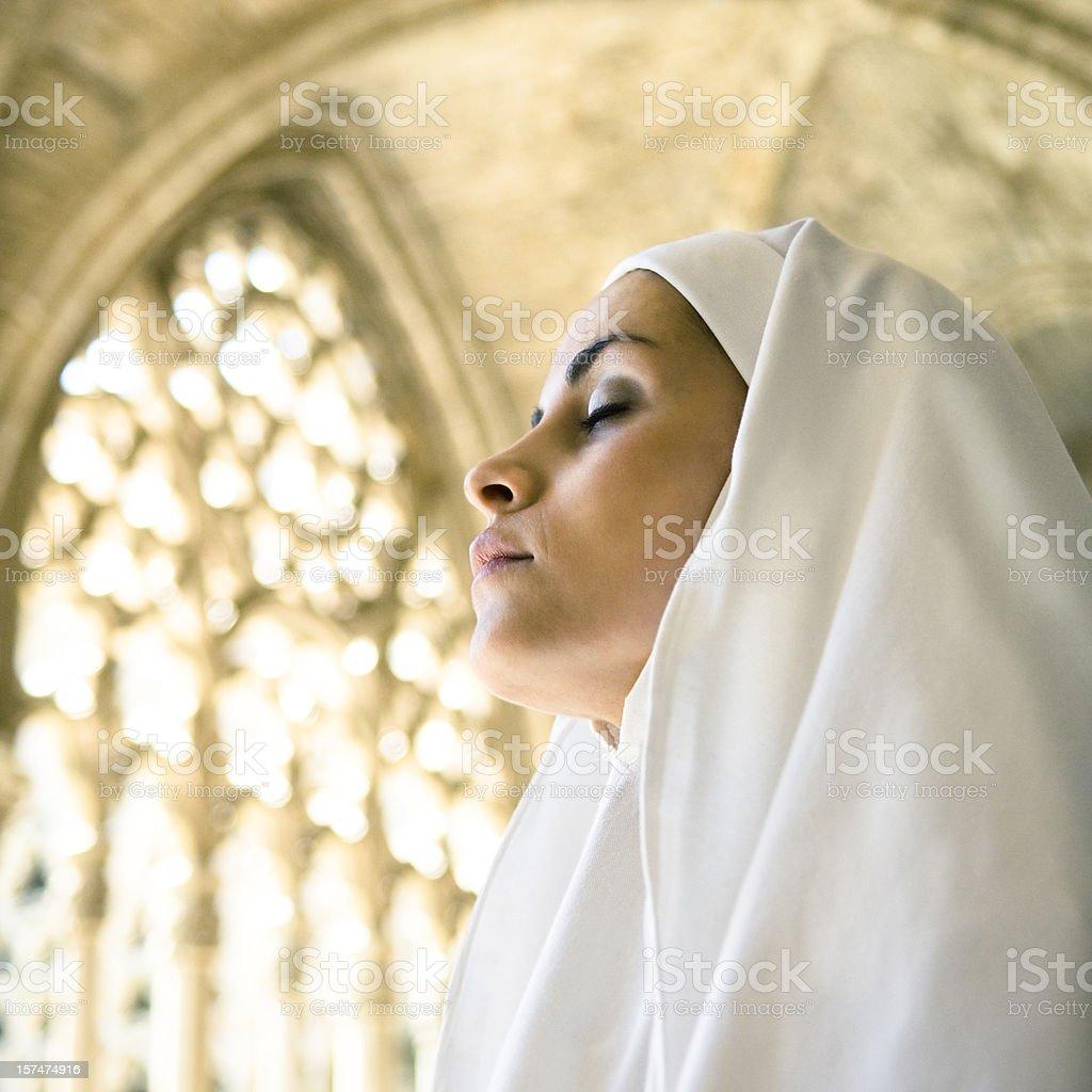Meditative nun royalty-free stock photo