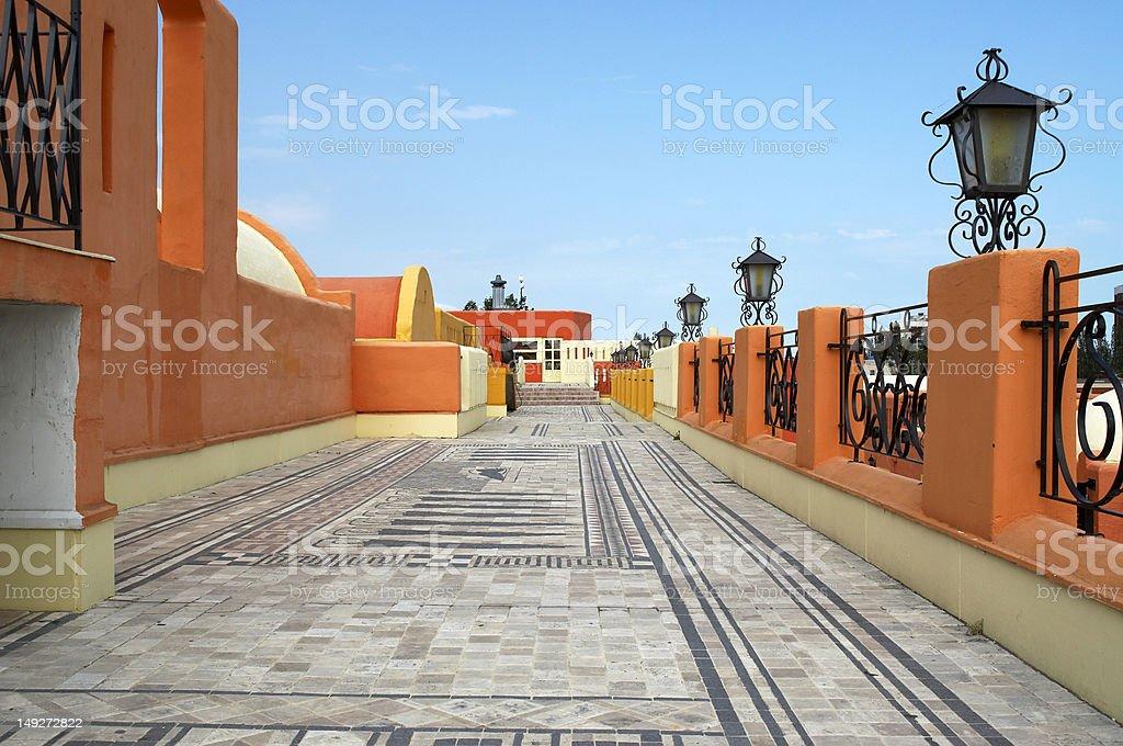 Mediterranean balcony with ornamental tiles royalty-free stock photo