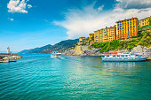 istock Mediterranean bay with touristic boats, Camogli resort, Liguria, Italy, Europe 1153167227