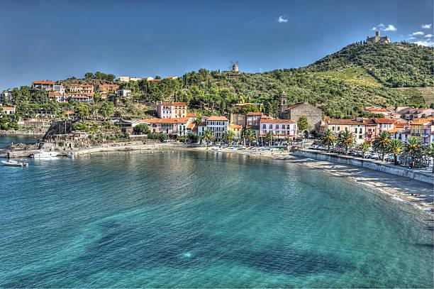 Mediterranean beach and village stock photo