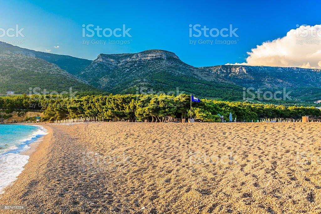 Mediterranean beach Golden Cape Croatia. stock photo