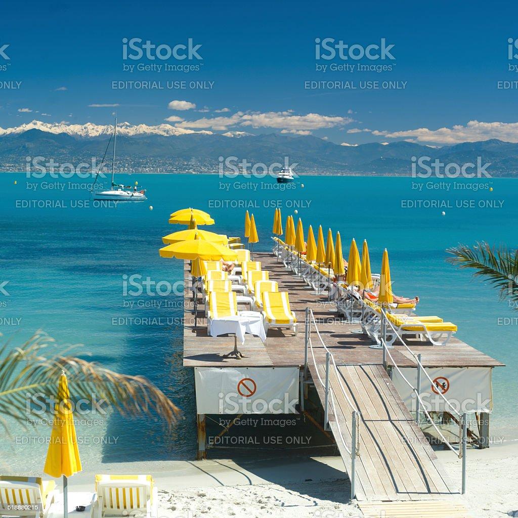 Mediterranean beach scene in French Riviera stock photo