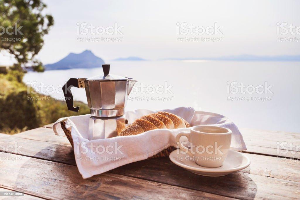 Mediterranean breakfast stock photo
