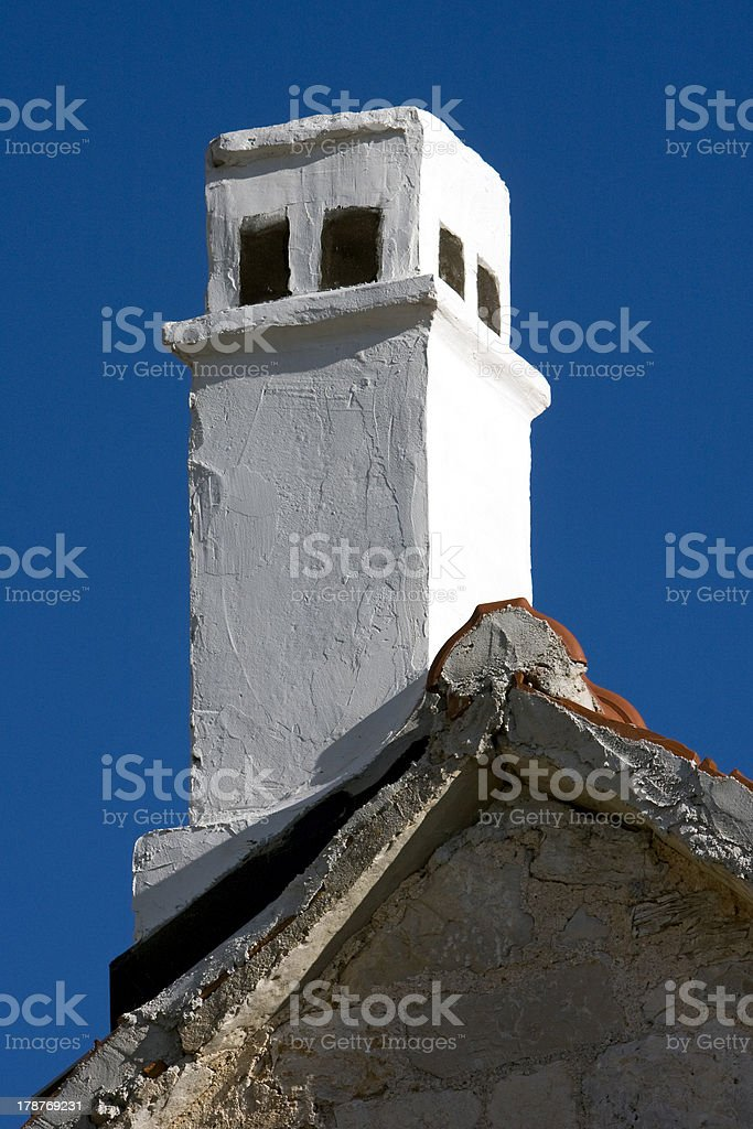 Mediterranean chimney on Adriatic island Brac royalty-free stock photo