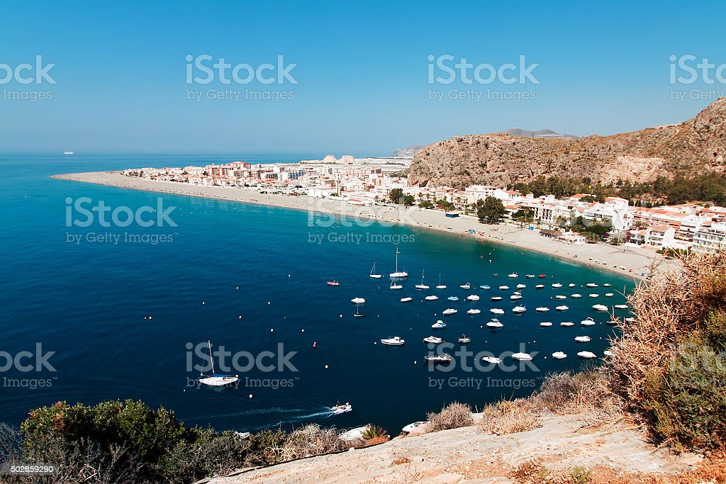 Mediterranean coast, city of Calahonda, Province of Almeria, Spa stock photo