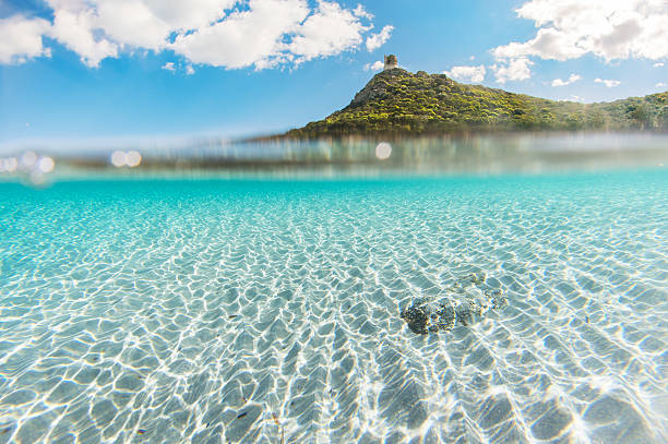 Mediterranean coast crystal clear sea with white sand and clean stock photo
