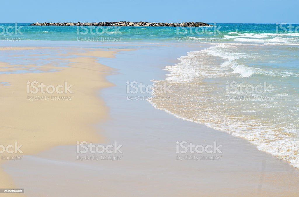 Mediterranean coast with the incident wave royalty-free stock photo