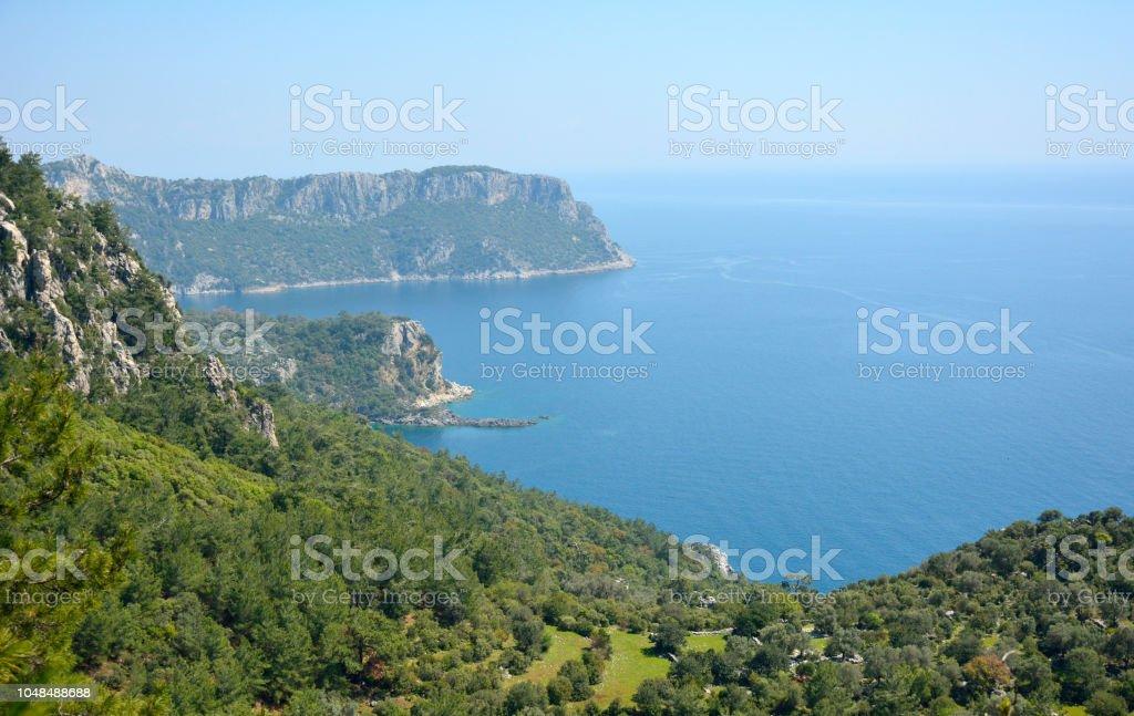 Türkiye'de Akdeniz kıyı şeridi. stok fotoğrafı