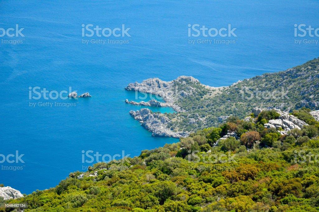 Bozburun Yarımadası'nın Türkiye'de Akdeniz kıyı şeridi. stok fotoğrafı