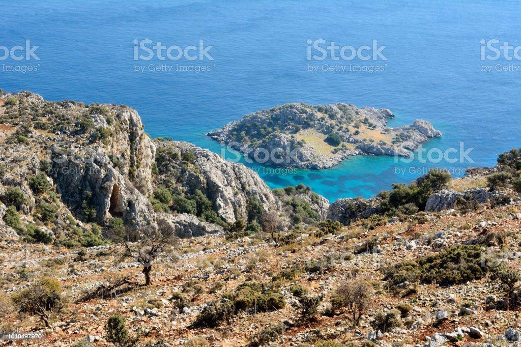 Bozburun Yarımadası'nın Türkiye'de Akdeniz kıyı şeridi stok fotoğrafı