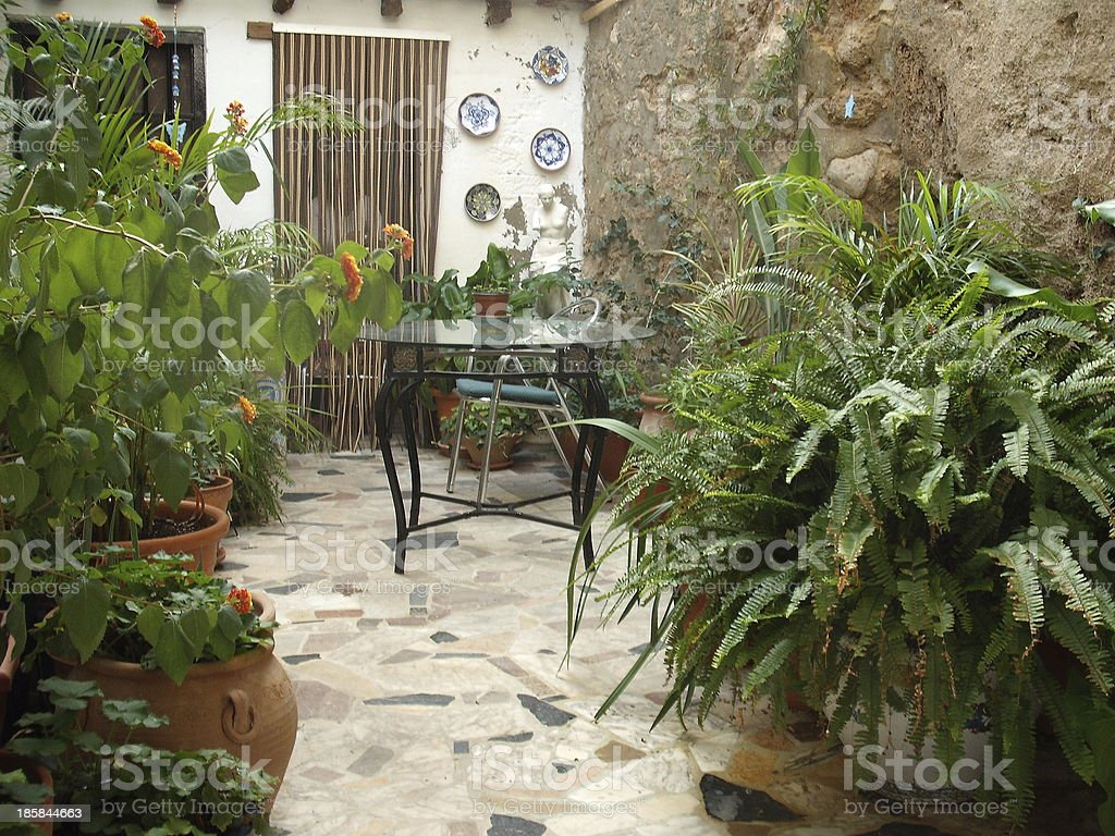 Mediterranean Courtyard royalty-free stock photo