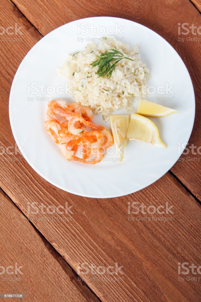Mediterranean dish of shrimps with rice. royalty-free stock photo