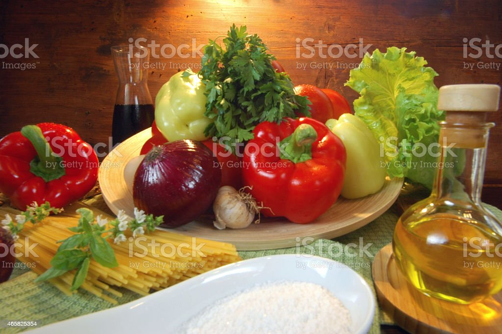 Mediterranean food with pasta oils and vegetables stock photo