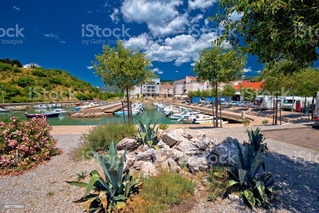 Mediterranean harbor in town of Novi Vinodolski, Kvarner bay of Croatia stock photo
