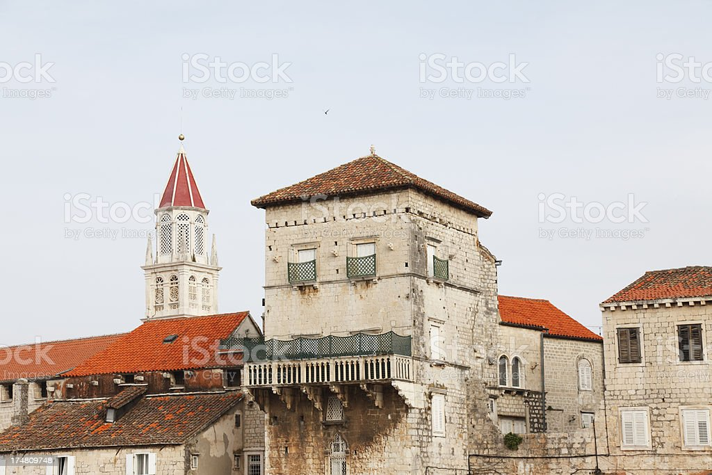 mediterranean historic facades church bell tower roofs in Trogir Croatia royalty-free stock photo