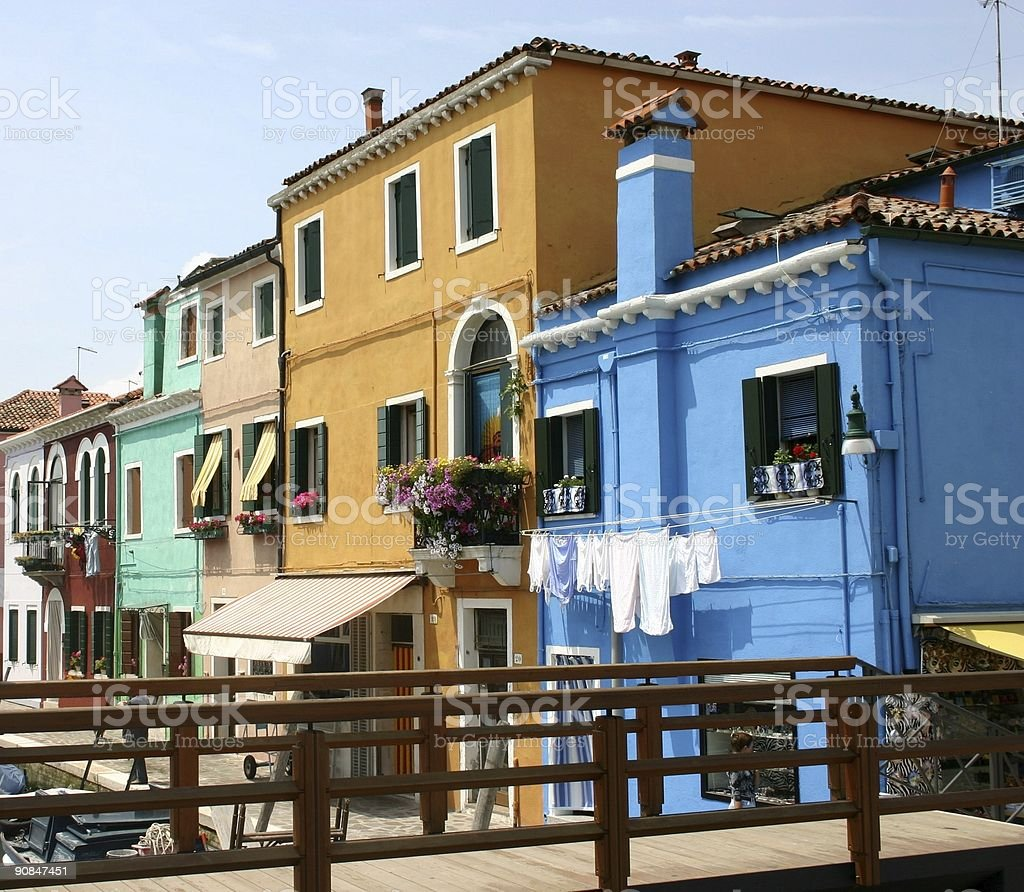 Mediterranean inspired painted houses royalty-free stock photo