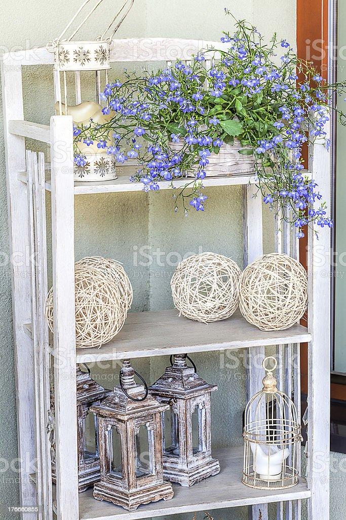 Mediterranean interior - artistic shelves royalty-free stock photo