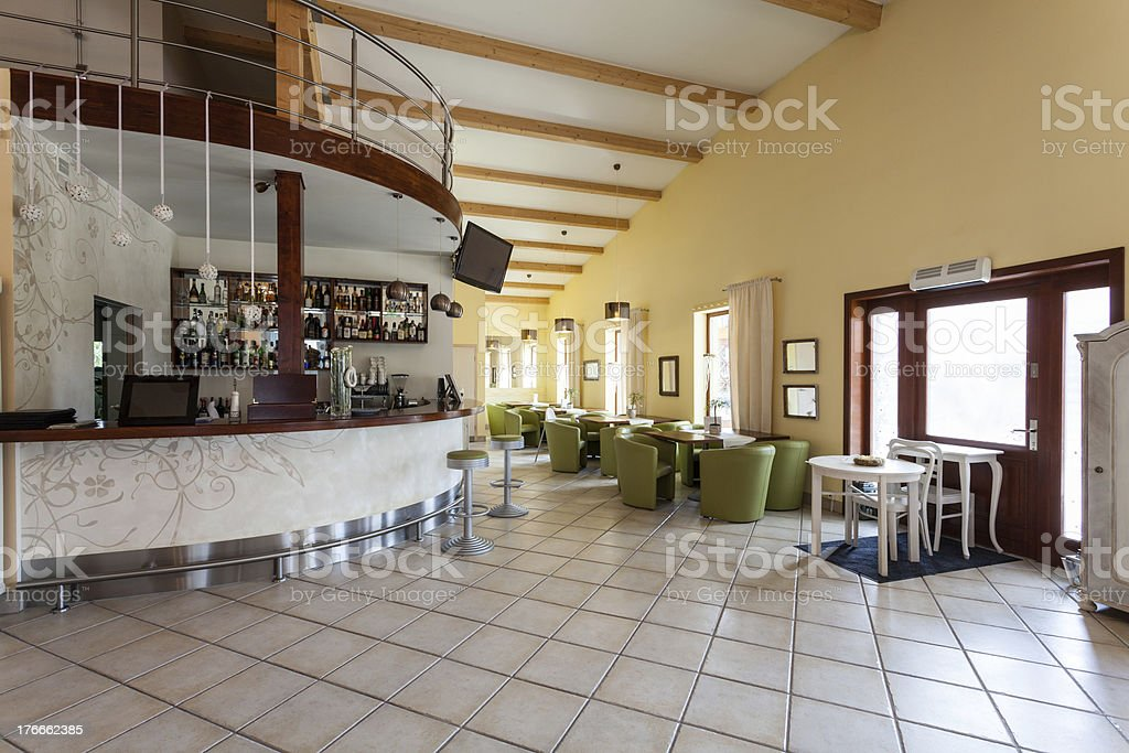 Mediterranean interior - cafe and bar royalty-free stock photo