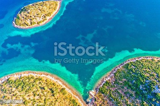 istock Mediterranean island bay aerial view, Zadar archipelago of Croatia 1089102668