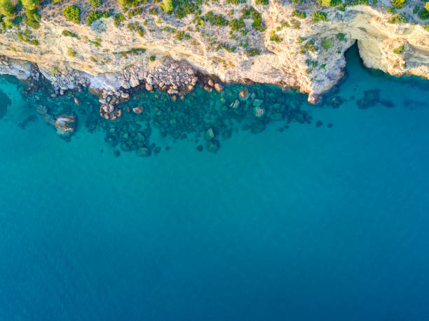 Mediterranean island seashore. Aerial view stock photo