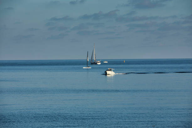 Mediterranean maritime landscape and sailboats stock photo