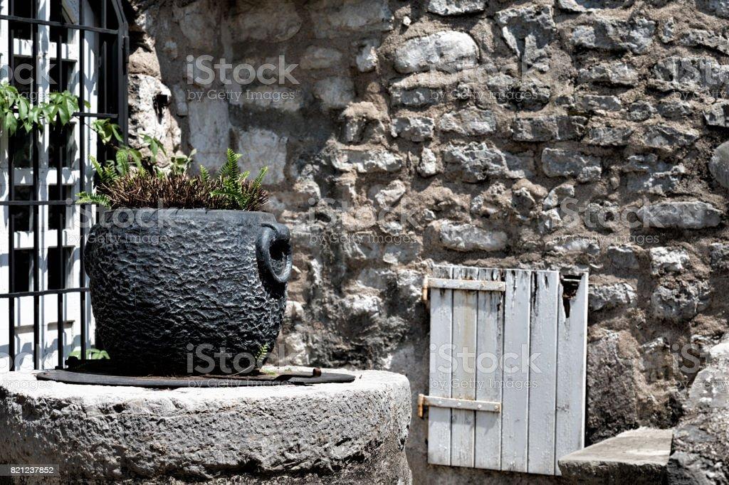 Mediterranean Medieval Town Detail in Montenegro -  Travel Summer Destinations stock photo