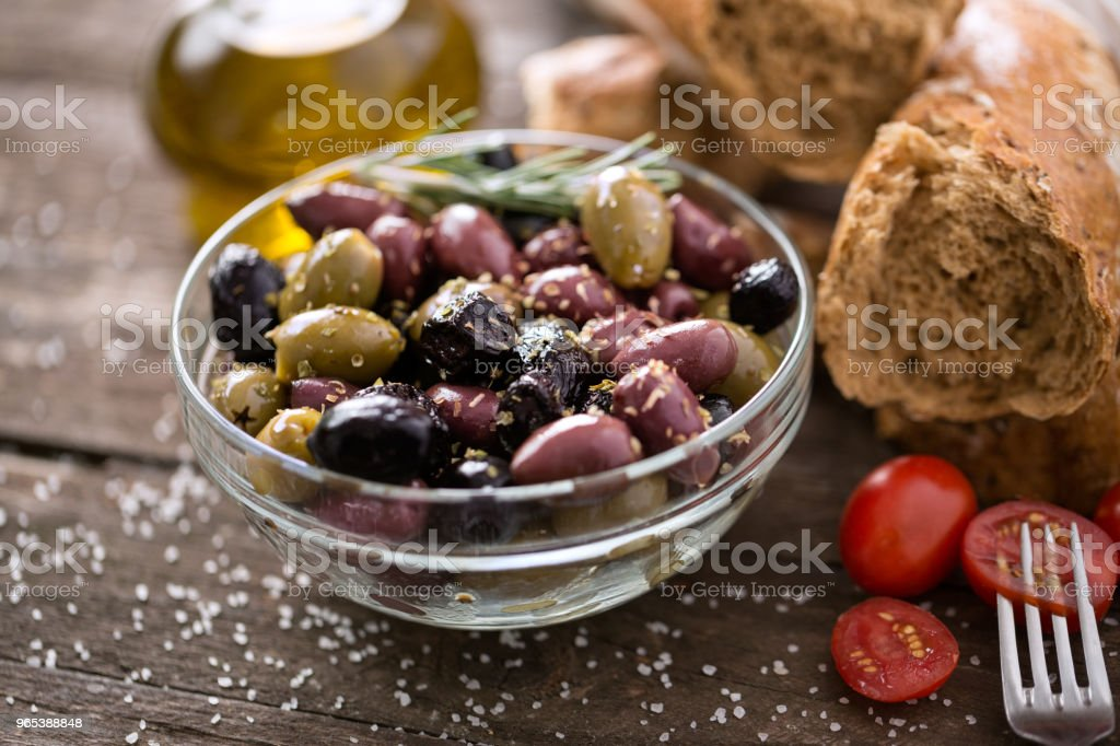 Mediterranean mix of olives for salad in oil royalty-free stock photo