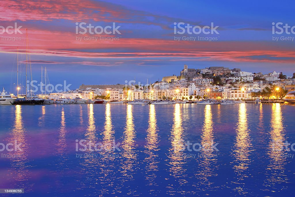 Mediterranean night view of Ibiza Island with water and royalty-free stock photo