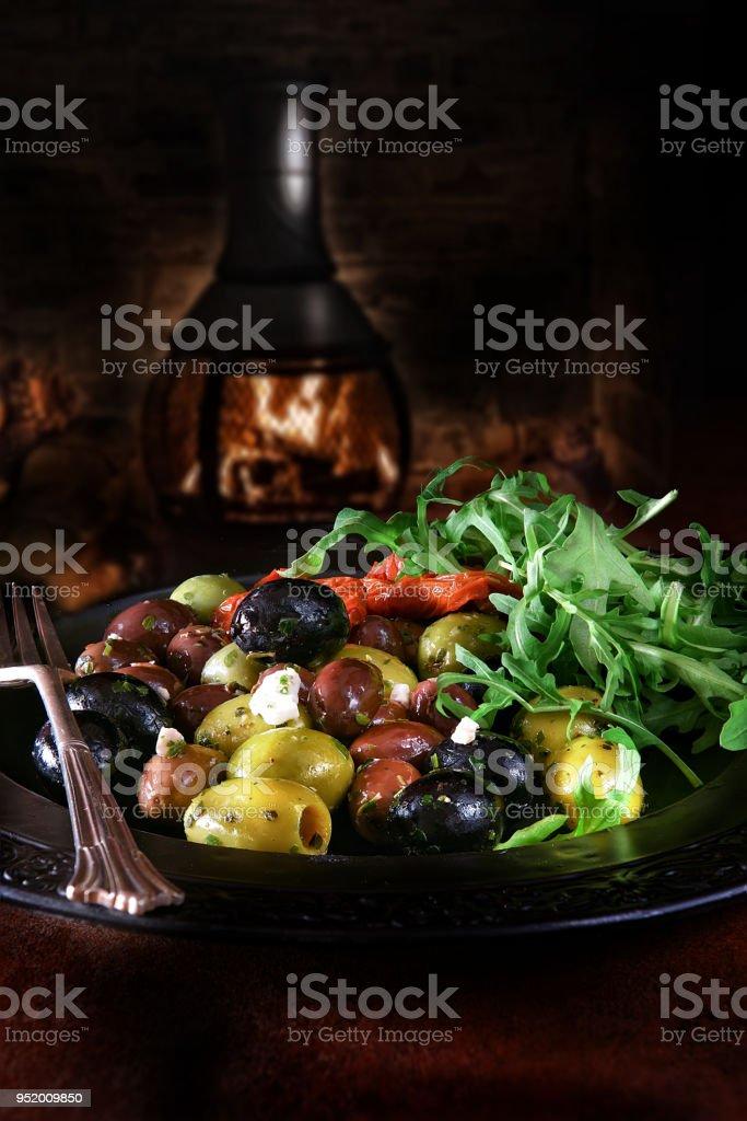 Mediterranean Olive Salad stock photo