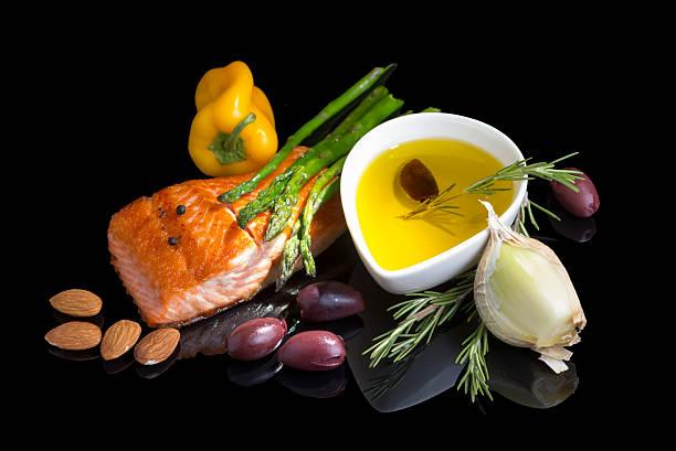 mediterrâneo ómega - 3 a dieta. - mediterranean food imagens e fotografias de stock