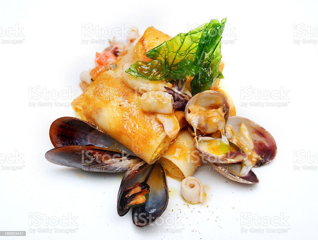 Mediterranean pancakes with seafood royalty-free stock photo