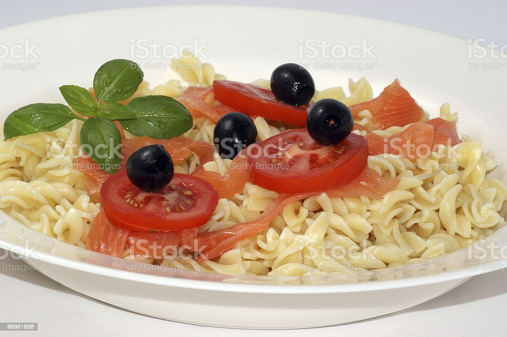 mediterranean pasta with organic olive and tomato royalty-free stock photo
