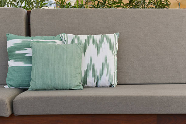 Mediterranean pillows over outdoors sofa stock photo