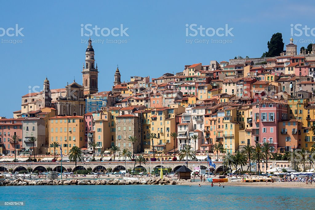 Mediterranean resort of Menton - French Riviera stock photo