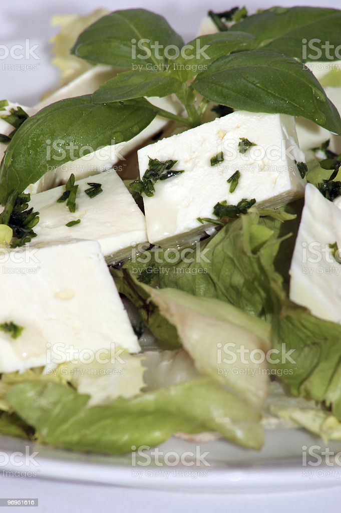 mediterranean salad with organic feta cheese and herbs royalty-free stock photo
