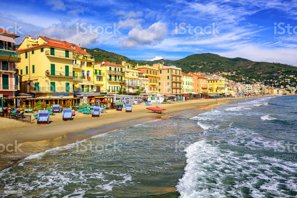 Mediterranean sand beach in Alassio by San Remo on italian Riviera, Italy stock photo