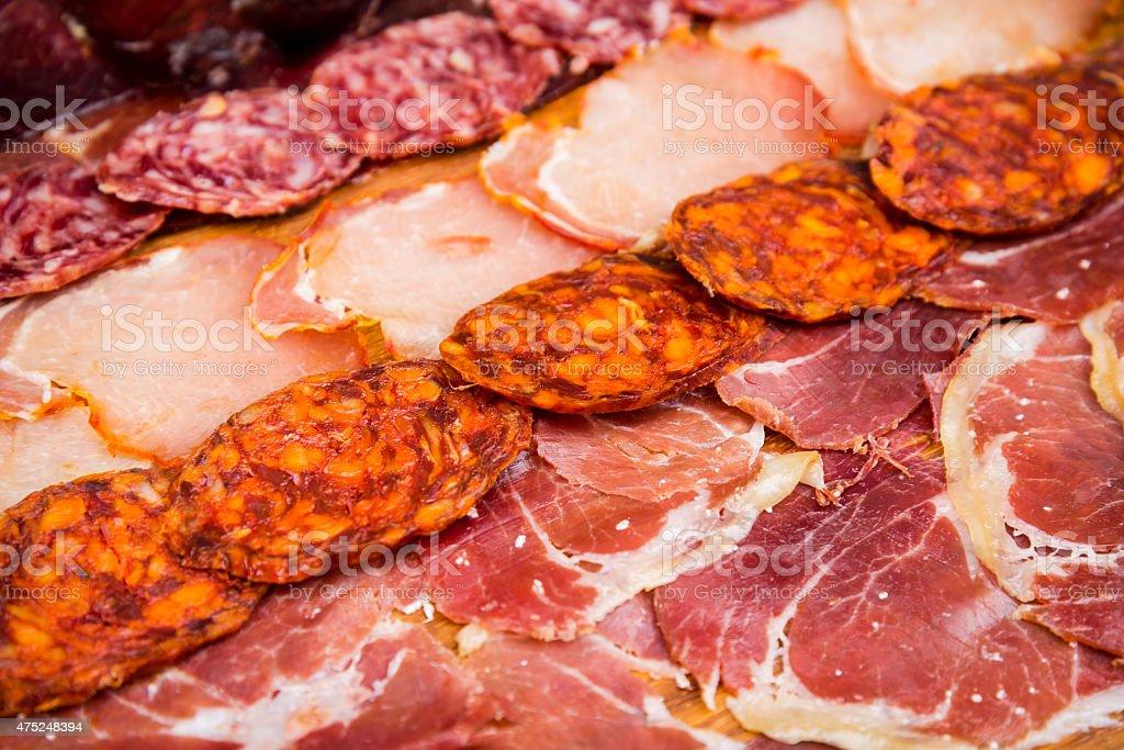 Mediterranean sausages mix stock photo