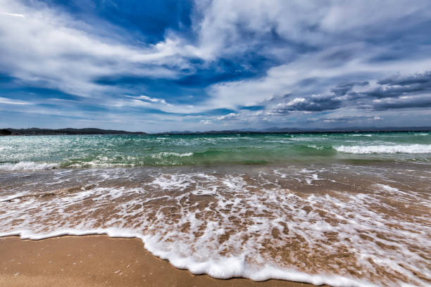 Mediterranean sea and cloudy sky: in the island of Porquerolles in the Var, in Provence, on the Côte d'Azur stock photo