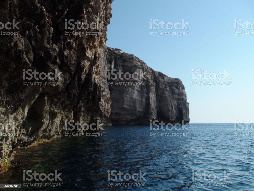Mediterranean Sea And Rock Object View In Island Of Gozo Malta Europe