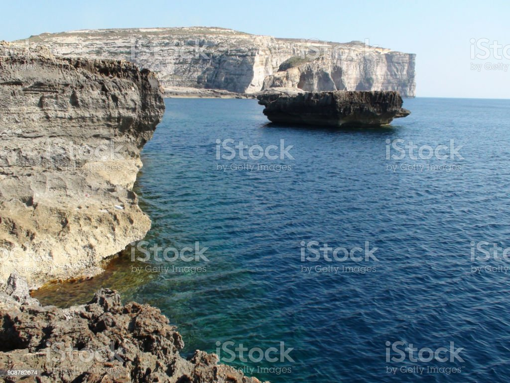 Mediterranean Sea And Rock Object View In Island Of Gozo Situated In...