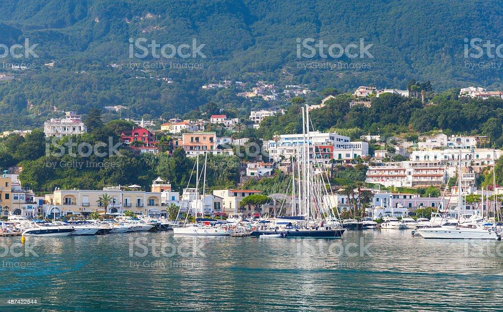 Mediterranean Sea coastal landscape with marina stock photo