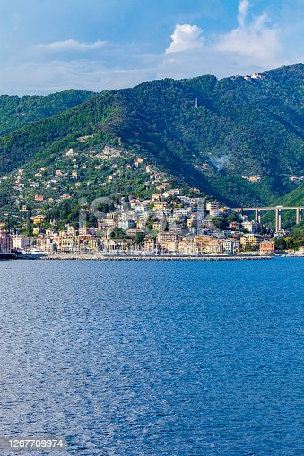 Mediterranean Sea Coastline with Hwy 80 bridge below Mountains, and above a Marina and vacation lodging sites near Santa Margherita Ligure, Italy