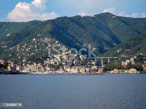 Mediterranean Sea Coastline with Mountains, Marina and Lodging near Santa Margherita Ligure, Italy