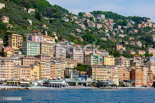 Mediterranean Sea Coastline with Resort Lodging & Beaches near Santa Margherita Ligure, Italy