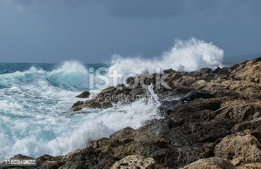Mediterranean Sea during a storm in Cyprus