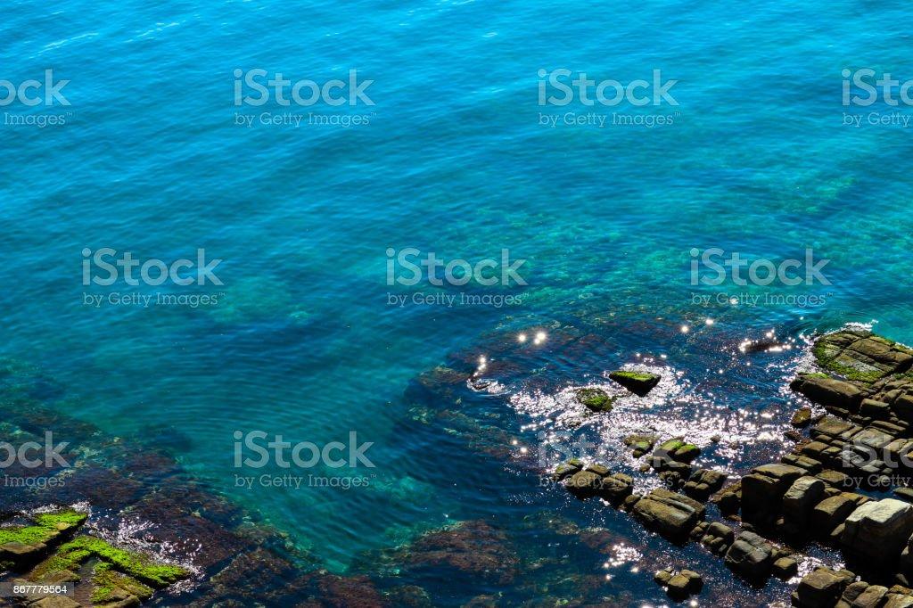 Mediterranean sea, Greece, clean blue water lagoon. stock photo